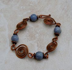 Handmade Blue Aventurine and Copper Swirl by BebopBaublesDesign