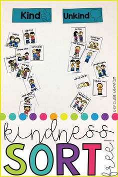 Kindness is such an abstract concept that is hard for a lot of students to understand. This kindness sort makes the concept more concrete. Students sort behaviors as kind or unkind. Check out this free resource now! Classroom Behavior, Preschool Classroom, Preschool Activities, Manners Preschool, Classroom Ideas, Preschool Spanish, Teaching Manners, Preschool Special Education, Teaching Kindergarten