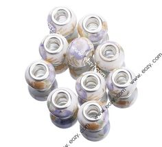 10x15mm Light Purple Flower Painting Ceramic Craft Charm Spacer Beads Fit European Bracelet #eozy