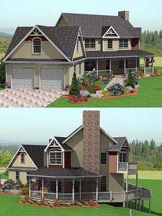 Country Farmhouse, 3 bedrooms w/bonus room over garage. Very nice! For a country gal. Throw in a horse barn and I'm sold. - Decoration for House Victorian House Plans, Victorian Farmhouse, Country Farmhouse, Victorian Homes, Farmhouse Plans, Inspiration Design, Sims House, House Goals, My Dream Home