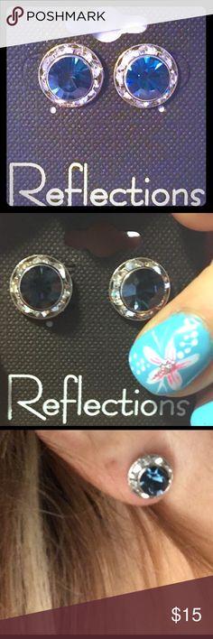 London Blue Austrian Crystal Studs w/CZ's Gorgeous Reflections London Blue Austrian Crystal Studs w/CZ's. Beautiful! NWT ***MAKE AN OFFER!*** Reflections Jewelry Earrings