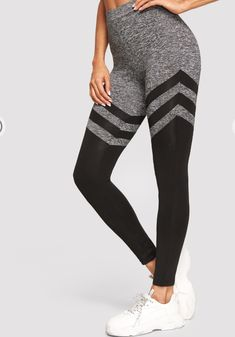 Grey High Waisted Colour-block Leggings Colour Block, Color Blocking, Girl Gang, Thighs, Gems, Sweatpants, Leggings, Workout, Style