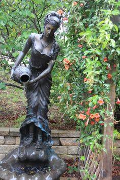 Lady+statue+water+fountain · Garden StatuesA FlowerFlowers GardenLittle  GirlsGarden ...