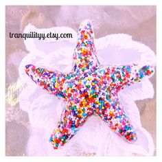 Hair Clip Sweet Candy Sprinkle  Resin Starfish Lg by tranquilityy