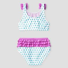 Toddler Girls' Ruffle Bottom Crop Top Swimsuit - Blue 3T - Sugar Coast by Lolli, Multicolored