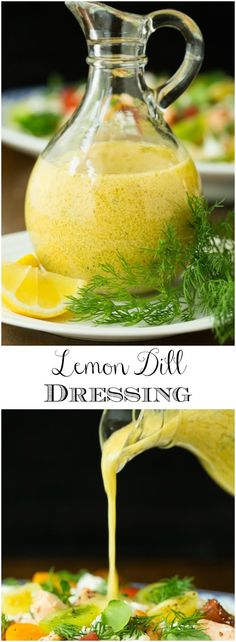 With bright, fresh flavor, this easy Lemon Dill Dressing is perfect with greens and veggies as well as chicken, fish and shrimp! via (Paleo Soup Shrimp) Salad Dressing Recipes, Salad Recipes, Lemon Dill Vinaigrette Dressing Recipe, Herb Dressing Recipe, Dill Recipes, Easy Recipes, Recipes With Dill Vegan, Spinach Recipes, Chicken Recipes