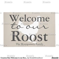 Country Hen Welcome to our Roost Family Name Doormat  sc 1 st  Pinterest & Modern Teal Ribbon u0026 Stripes Welcome Home Doormat | Door Mats ...