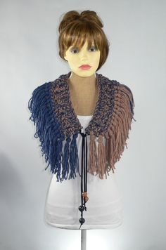 Festival wear at Rocking Pony, my #etsy shop: Burning Man Costume, Burning Man Clothing, Festival Belt, Festival Clothing, Boho Scarf, Fringe Scarf, Crochet Scarf, Glastonbury Festival http://etsy.me/2ntLAtT #accessories #scarf #blue #brown #festivalscarf #fes