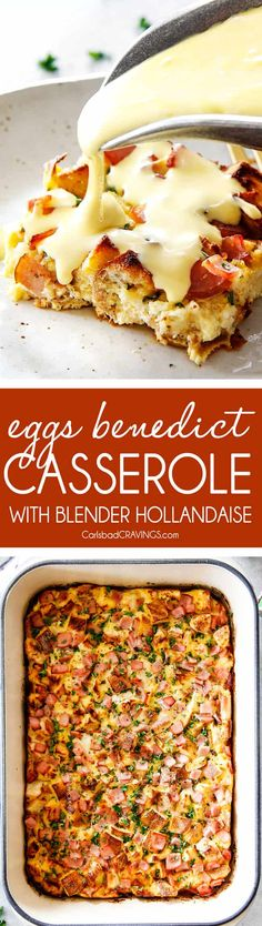 10 Minute Prep Overnight (AKA STRESS FREE) Eggs Benedict Casserole with with EASY 5 minute Blender Hollandaise Sauce! It's all the delectable flavor of Eggs Benedict without any of the hassle! via @carlsbadcraving