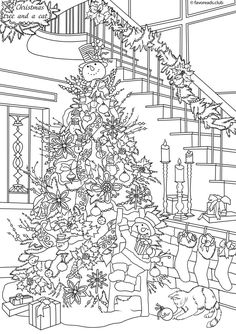 Cats and Dogs Christmas Tree Printable Adult Coloring Pages from Favoreads Christmas Coloring Sheets, Printable Christmas Coloring Pages, Printable Adult Coloring Pages, Adult Coloring Book Pages, Coloring Pages For Kids, Coloring Books, Christmas Colors, Xmas Holidays, Christmas Mood