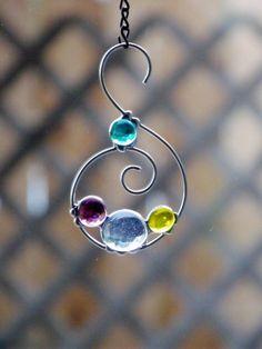 Swirly Wire and Glass Cabochon Suncatcher Ornament