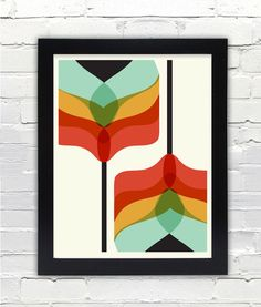 Mid Century Modern Art Falling Flowers Print // Gifts under 25 // Free shipping