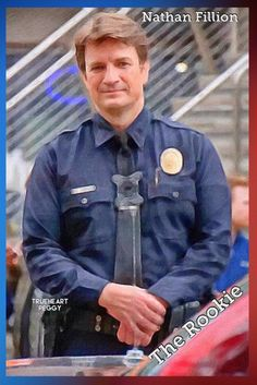 The Rookie:  And so it is ~Nathan Fillion finally has his uniform and his badge (not a chocolate one); he finally is a cop