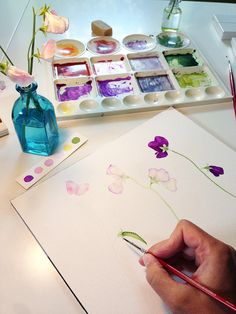 Watercolor Sweet Pea Flowers Original Botanical Painting /