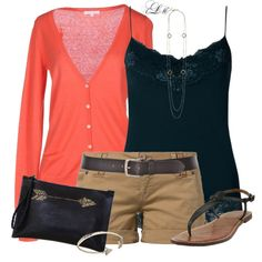 """""""Coral, Black & Khaki"""" by tmlstyle on Polyvore. Wore a similar ensemble but with capris and diff colored tops. Close-toed flats. Very cute outfit"""