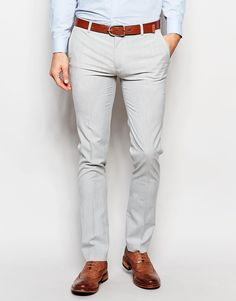 Image 1 of ASOS Super Skinny Smart Trousers In Pale Grey