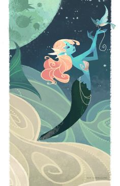 Sky Mermaid Art Print
