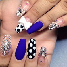 blue nails, polka dota, and matte nails image