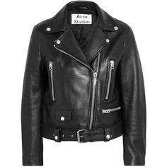Acne Studios Leather biker jacket ($1,400) ❤ liked on Polyvore featuring outerwear, jackets, black, asymmetrical zip leather jacket, moto jacket, genuine leather biker jacket, leather motorcycle jacket and leather biker jacket