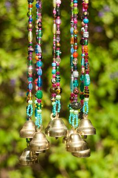 Wind Chime - Beaded Mobile with Brass Bells Sun Catcher - Bohemian Decor-Hippie Style Decor-Garden Bells Outdoor Hanging Decor-suncatcher - Wind chime beads mobile with by RonitPeterArt on Etsy - Hippie Style, Mode Hippie, Bohemian Style, Boho Chic, Hippie Boho, Mobiles, Carillons Diy, Crystal Beads, Glass Beads
