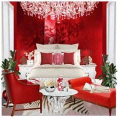 red and white classic bedroom