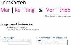 Lernkarten – Fachwirte für Marketing (IHK) Math Equations, Ebay, Learning Methods, Note Cards, Project Management, Career