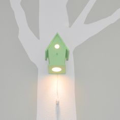 Avery Sprout Green by Modern Treetop Baby- It's an illuminated birdhouse for a woodland nursery! Cute!!! It's on sale from 150 to $75 via fab.com... Love this seafoam green one!