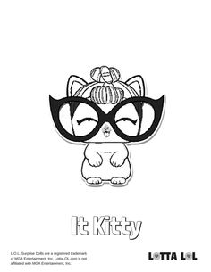 Love LOL Surprise Pet It Kitty? Color her any color you want with this FREE LOL Surprise Pet coloring page from Lotta LOL. Kids Printable Coloring Pages, Coloring Pages For Girls, Animal Coloring Pages, Colouring Pages, Cute Animal Names, Cute Animal Pictures, Colorful Pictures, Doc Mcstuffins Coloring Pages, My Little Pony Coloring