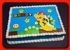 Bowser sheet cake :) Monster Truck Birthday Cake, Elsa Birthday Cake, Mario Birthday Cake, Super Mario Birthday, First Birthday Party Themes, Pirate Birthday, Birthday Fun, Birthday Ideas, Birthday Parties
