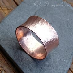 Handmade Forged Wide Flared Copper Band Ring Size 9 by Che4uDesigns, $34.00