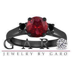 Red Garnet & Fancy Black Diamond Three Stone by JewelryByGaro, $1100.00