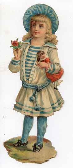Victorian Die Cut 1880s Beautiful Blonde Girl Sailor Outfit Doll Orig Price Back • $8.00 - PicClick