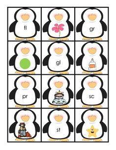 Free - Penguin Blends Cards {use as a pocket chart activity or Concentration game}