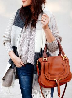 #winter #fashion / Printed Scarf + Cream Knit + Camel Leather Shoulder Bag + Navy Skinny Jeans