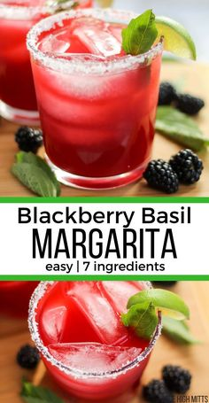 A simple, on the rocks Blackberry Basil Margarita; bringing a fun twist to a classic margarita that you'll love! Made with fresh blackberries and basil. Basil Drinks, Basil Cocktail, Fruit Drinks, Drinks Alcohol Recipes, Drink Recipes, Margarita Cocktail, Alcoholic Drinks, Beverages, Healthy Recipes