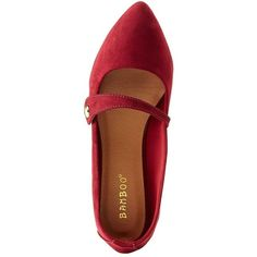 Bamboo Pointed Toe Strap Flats ($16) ❤ liked on Polyvore featuring shoes, flats, burgundy, ballet flat shoes, pointed-toe ankle-strap flats, t-strap flats, burgundy ballet flats and flat pointed toe shoes