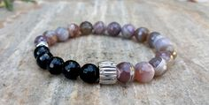 Mens Gemstone Bracelet, Genuine Agate and Black Tourmaline Bracelet, Silver Plated Spacers, Protective, Strength, Men Bling Jewelry, For Him