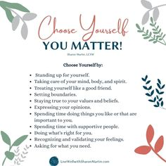 Choose Yourself: You Matter - Live Well with Sharon Martin Mental Health Treatment, Good Mental Health, Comparing Yourself To Others, Be True To Yourself, Sharon Martin, Self Esteem Worksheets, Ways To Say Said, Ways To Relieve Stress, Positive Self Talk