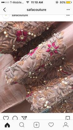 Zardosi Zardosi Embroidery, Hand Embroidery Dress, Kurti Embroidery Design, Couture Embroidery, Embroidery Fashion, Hand Embroidery Designs, Beaded Embroidery, Embroidery Stitches, Embroidery Patterns