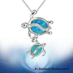 Sterling Silver Hawaiian Mother & Baby Honu Blue Opal Pendant