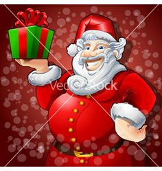 Cheerful santa claus with box gift vector - by Auriel on VectorStock®
