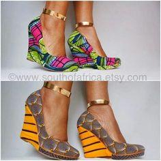 Ankara African print wedges shoes