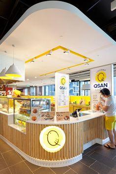 ✔ Qsan - One Central Sydney Kiosk Design, Bakery Design, Cafe Design, Retail Design, Store Design, Restaurant Concept, Restaurant Design, Cafe Interior, Interior Design Living Room