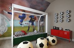 Woodside Homes - Harper Oaks - Soccer Room. Boys Football Bedroom, Soccer Bedroom, Football Rooms, Kids Bedroom, Woodside Homes, Childrens Beds, Kids Room Art, Baby Boy Rooms, Bedroom Themes
