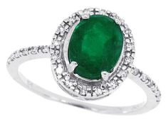 1.48 Ct Oval Genuine Emerald Ring with Diamonds in 10Kt White Gold -