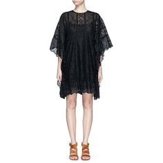 Valentino San Gallo lace cape dress (€5.570) ❤ liked on Polyvore featuring dresses, black, black dress, holiday dresses, short cocktail dresses, special occasion dresses and lace sleeve dress