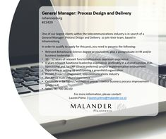 Hiring: General Manager: Process Design and Delivery Pre And Post, Find A Job, Behavior, Management, Delivery, How To Apply, Design, Behance