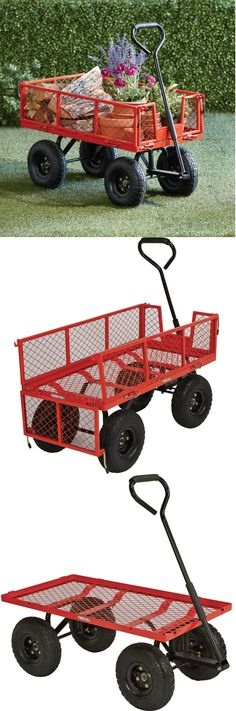 This heavy-duty Steel Cart is perfect for hauling garden supplies, firewood and more!