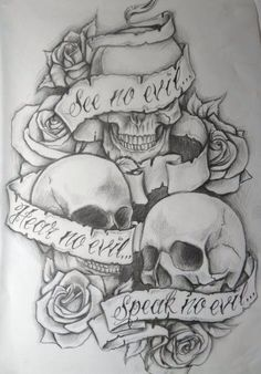 See no evil hear no evil speak no evil skulls