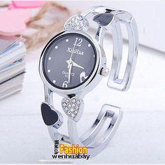 New Crystal Lady Girl Bracelet Bangle Steel Analog Women Quartz Wrist Watch Gift